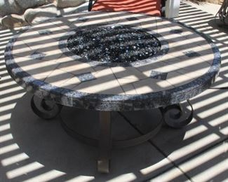 """#33.  $200.00.   Propane fire pit  off to side propane holder   firepit 45"""" d X 21"""" h   propane holder 21 ½"""" d X 21"""" h  HEAVY"""