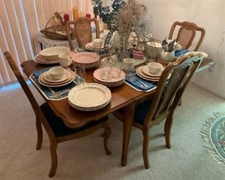 """Pfaltzgraff Tea Rose & Pink Dinnerware & Glasses 69 Piece Set, OneidaWare Stainless """"Whittier"""" Flatware Set, Bassett Mid-Century Dining Table w/6 Cane Back Chairs & Table Pad (Leafs as is)!"""