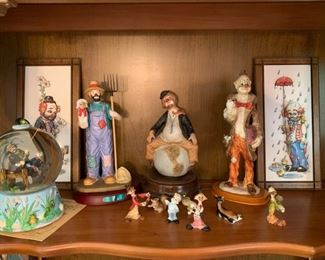 """Catch of the Day Emmet Kelly, Jr. Signature Collection #0892 w/COA Water Globe/Music Box,  Ceramic Clown on Earth Music Box,  Ceramic Hobo Clown Holding Dog on Wood Base UOGC,  Emmett Kelly Jr. Collection by Flambro """"Farmer"""" w/Wood Stand, Raised Layered Paper Art Clown Pictures"""