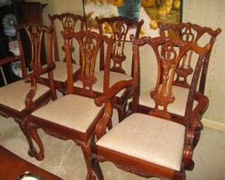 6 Chippendale style chairs-4 sides and 2 armchairs