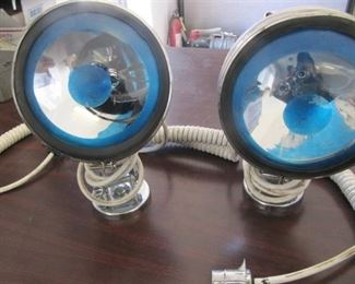 Lot of 2  - 6 Inch Stainless Steel Magnetic Flood or Work Lights with Approx 15' Cords