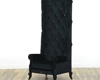 A&X Baron High Back Crystal Tufted Velvet Lobby Chair