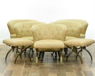 Set 8 Mid Century Barrel Back Dining Chairs & Ottomans