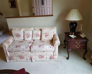 "Sofa & matching loveseat by Bridgeford. Sofa: 86"" long. Loveseat 61"" long"
