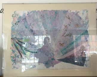 "Mixed Media Modern Painting w/Butterflies - $450           45"" wide x 36"" high  (by Margie Hughto c.1984)"