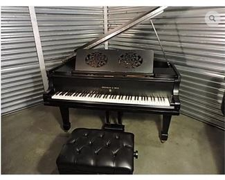 """Beautiful GERMAN STEINWAY HAMBURG PIANO 1919 Grand Model O Matte Black Finish Serial No. 195470 Made in Hamburg, Germany -- SHIPPED TO THE UNITED STATES FROM GERMANY -- VERY RARE -- CLEAN FINISH / UNDERNEATH SEE PHOTOS - ALL THE GUTS OF THIS PIANO WHERE REBUILT BY STEINWAY (strings, hammers, pads etc). Stool Not Included ... This piano was used in concert by famous German pianist, Gunther Knaup in Nashville, TN ... Buyer pays moving costs -- Questions Call 615-330-5946   History :  Appraised twice at $25,000 value. This Classic and Beautiful Steinway Grand 1919 Model O in ebony satin finish. Very Attractive. Built just after WWI, from Steinway Golden Era. Grand size, five feet 10 1/2"""" long.  Made in Hamburg Germany.  Previously owned by concert pianist Gunther Knaup of Germany, New York and Nashville. Shipped from Germany to US in 2016 at a cost of $7,000. Unique Rare style, elegant double-floral cut-out music rack panel Very good condition.  Original keys. Newer Strings. Hammers have"""