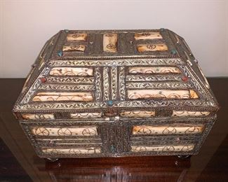 Silver, turquoise and carved bone handmade box $950