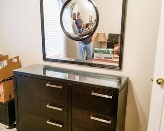 """Amish Made, Contemporary bedroom dresser and mirror.   Dresser 52""""L, 18""""D, 34'H Mirror 44""""L, 44""""H"""