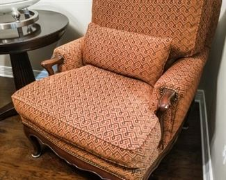 """EJ Victor French Style Lounge Chairs. Set of two. Newly reupholstered.   43""""H, 33""""L, 40""""D"""