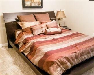 "Amish Made Contemporary Platform Bed Frame & Mattress.  Headboard 76""L, 44""H"