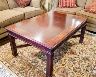 """Henkel Harris Chippendale Mahogany Coffee Table 46""""L, 32""""D, 20""""H"""
