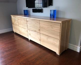 Flame maple custom made dresser and two end tables. Top comes off for easy transportation, dresser comes in two pieces. 125WX 22DX 40 H dresser  $2000 for the set