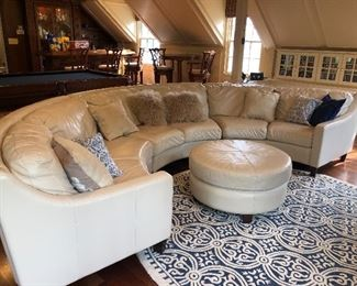 CHATEAU  D'AX Italian leather sectional sofa with ottoman.  Used but excellent condition.