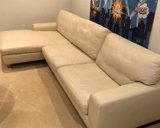 "Leather Mid-Century Modern Sectional - $ 1,800                         119"" long x 37"" deep on shorter side - 62"" long on chaise side x 17"" high"