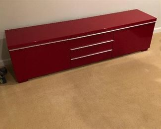 "Gorgeous Burgundy Mid-Century Modern TV stand -      $300            72"" long x 19"" high x 16"" deep"