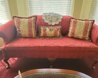 Stunning Red sofa with Accent pillows just used for show