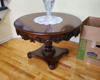 Large Round Foyer Table  Dark Wood