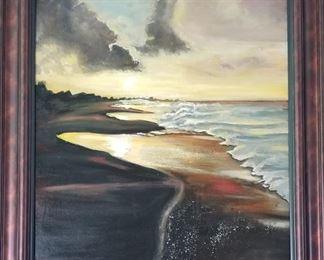 Local Artist R Bruce Cate Beach scene