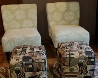 Rug, Chairs, ottomans