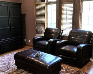 Armoire/entertainment Center Leather Recliner  Leather Ottoman