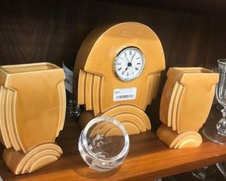 Art Deco Clock and vase
