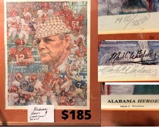"""""""Alabama Heroes"""" Print, Pencil Signed and Numbered by Artist and framed-Excellent Condition-$185"""