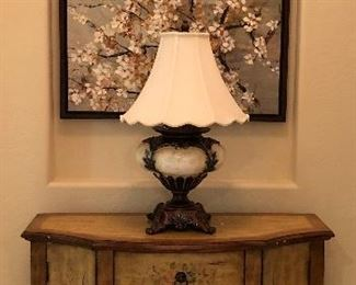 Entry Chest, Table Lamp, Art