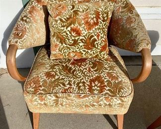 "Mid Century Bentwood Arm Chairs- Burnt Orange and Olive original upholstery - Pair of Chairs- Seat 15""H 30""W at outside of arms- Seat Depth 22"" Includes 8 square pillows. Stain matches Heywood Wakefield Champagne finish."