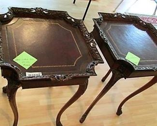 Pair of lamp tables with ornate edge
