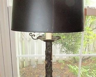 Metal figural lamp with 2 bulldogs, black shade