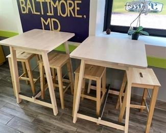 2 cocktail height tables with 4 bar stools
