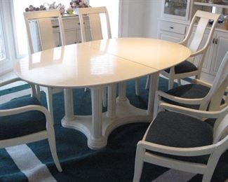 Thomasville Dining Table, Six Chairs, Two Leaves & Pads, Several Rugs...