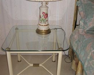 Two End/Side Table with Matching Lamps...