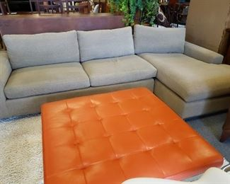 Room and Board Metro Sectional in Tatum Wheat. Originally $1200. Org: $3700                                                  Room and Board Ravella Orange leather Ottoman/table: $650    Orig: $1399