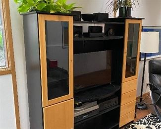 """$400 for set  1/4 photos """"Elements"""" matching entertainment center and credenza/console cabinet. Approx 71"""" high, 68"""" wide 17"""" deep. Beech wood and black."""