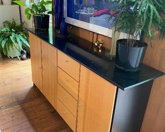 """$400 for set  2/4 photos """"Elements"""" matching entertainment center and credenza/console cabinet. Credenza is approx 34"""" high, 69.5 """" wide 17"""" deep. Beech wood and black."""