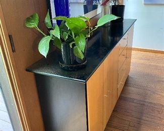 """$400 for set  3/4 photos """"Elements"""" matching entertainment center and credenza/console cabinet. Approx 34"""" high, 69.5 """" wide 17"""" deep. Beech wood and black."""