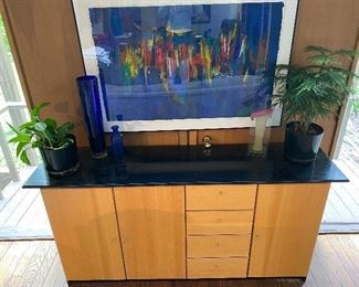 """$400 for set  4/4 photos """"Elements"""" matching entertainment center and credenza/console cabinet. Approx 34"""" high, 69.5 """" wide 17"""" deep. Beech wood and black."""