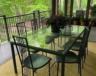 $400 Glass Parson's table and 8 chairs, 2/2 pics