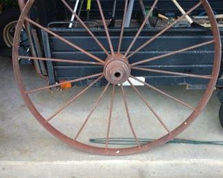 Large vintage iron wagon wheel