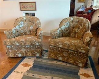 Two (2)  like-new upholstered swivel chairs // Like-new 5x7 Dhurrie area rug