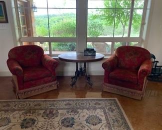 Like-new custom upholstered swivel chairs