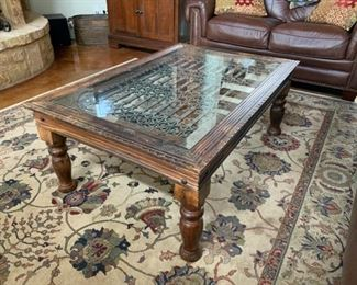 Repurposed iron gate coffee table