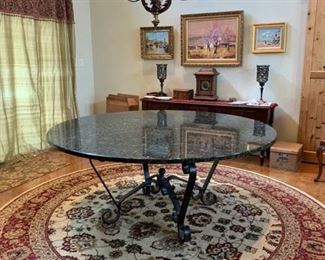 "72"" Round granite dining table // 10' round area rug"