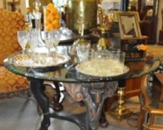 "Black Ram Beveled Glass Top Table 44"" Round 29""H $250 (25% OFF)"