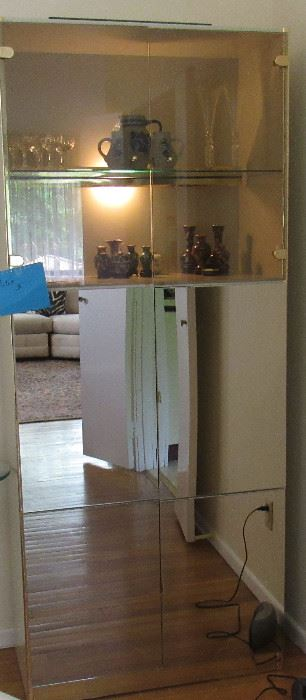 Lot 3 -Mid Century Modern Smoked Mirror Steel Stacking Cabinet - $450.00