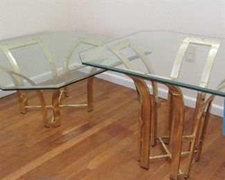 Lot 6 - Vintage Brass Glass Coffee table & End table Set  $300.00