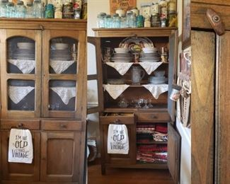 antique cupboard with wire mesh
