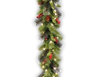 National Tree Crestwood Spruce Garland with Silver Bristle, Cones, Red Berries and Glitter, 9 by 10-Inch