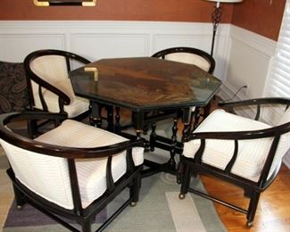 Nice Drop Leaf Table & Chairs with Oriental Motif